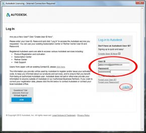 Image of the Autodesk Licensing sign-in screen.