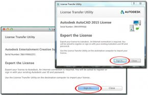Image showing the sign-in screen prior to exporting an Autodesk software license.