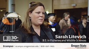 Sarah Litevich speaking about the fisheries and wildlife sciences program through Oregon State.