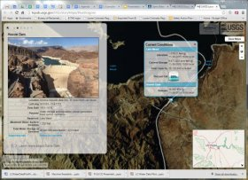 The Colorado River Basin Drought visualization tool uses open data from multiple sources to shed light on 16 years of drought in the Colorado River Basin. Interactive graphics in the tool include the one above, a map with information and real-time conditions for the reservoirs along the lower stretch of the river.