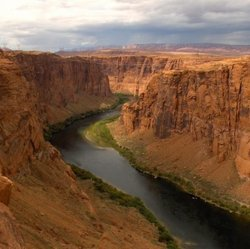 The Colorado River flows through Utah, Wyoming, Colorado, New Mexico, California, Arizona and Nevada.